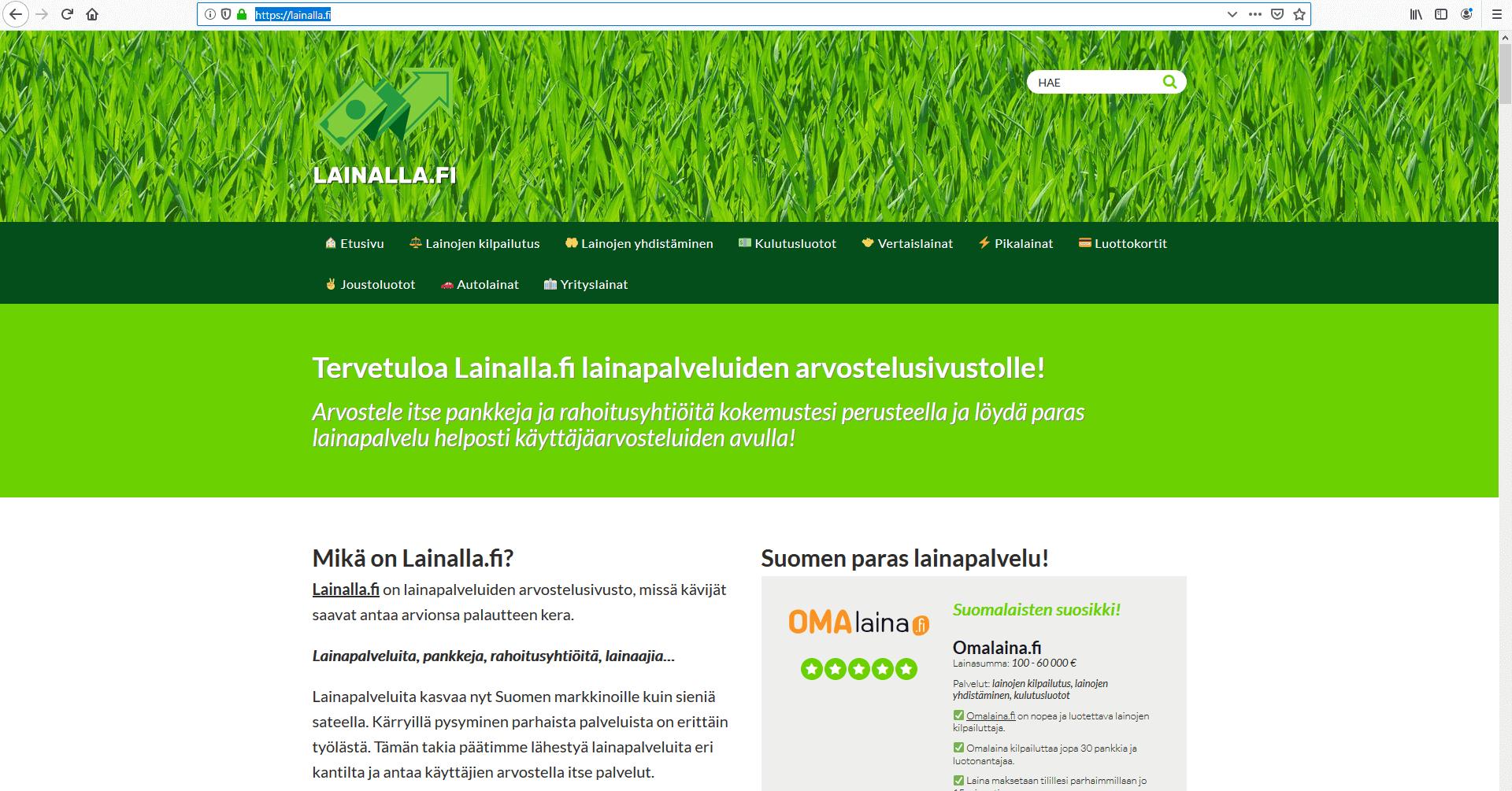 Lainalla.fi lainapalveluiden arvostelusivusto